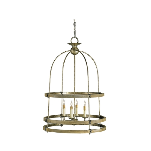 Currey and Company Lighting Bronze Birdcage Pendant Light with Four Lights 9172