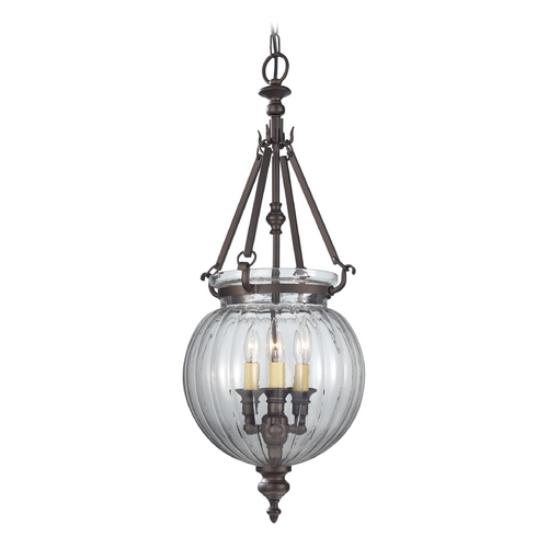 Feiss Lighting Pendant Light with Clear Glass in Oil Rubbed Bronze Finish F2800/3ORB