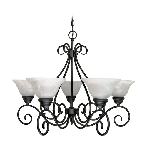 Nuvo Lighting Chandelier with Alabaster Glass in Textured Black Finish 60/380