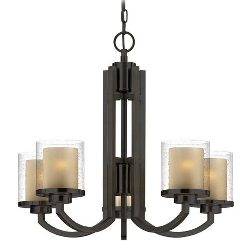 Dolan Designs Lighting Seeded Glass & Amber Chandelier Bronze Dolan Designs 2950-78