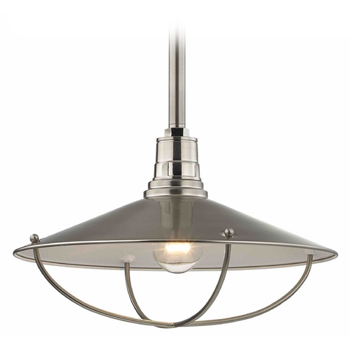 Design Classics Lighting Apex RLM 14-Inch Satin Nickel Pendant Light with Cage 661-09
