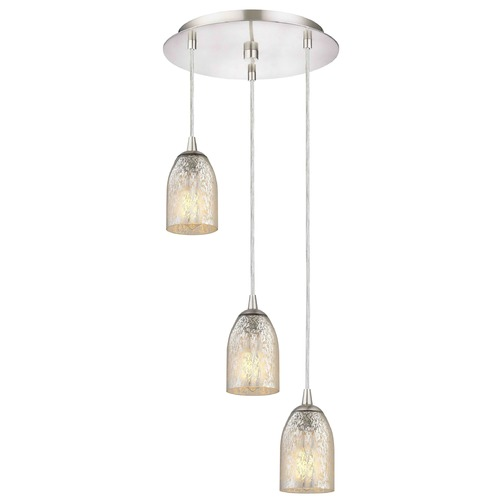 Design Classics Lighting Satin Nickel Multi-Light Pendant with Mercury Dome Glass and 3-Lights 583-09 GL1039D