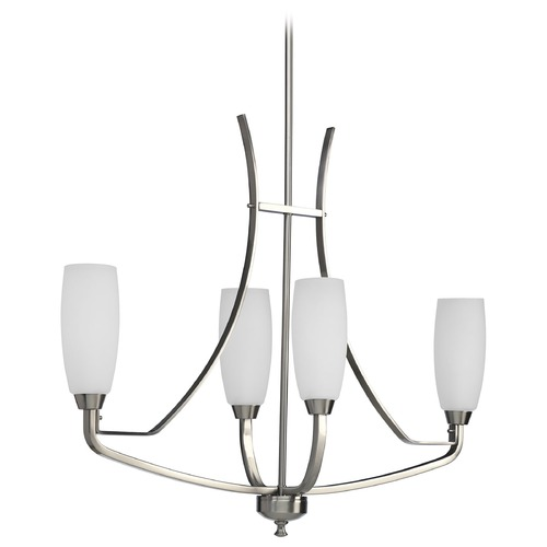 Progress Lighting Progress Chandelier with White Glass in Brushed Nickel Finish P4435-09