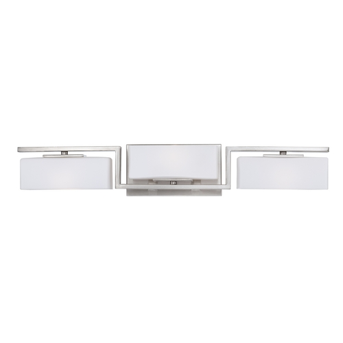 Designers Fountain Lighting Modern Bathroom Light with White Glass in Satin Platinum Finish 6713-SP