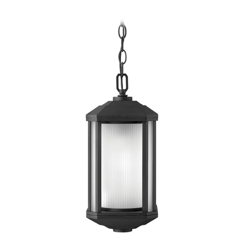 Hinkley Lighting Outdoor Hanging Light with White Glass in Black Finish 1392BK-GU24