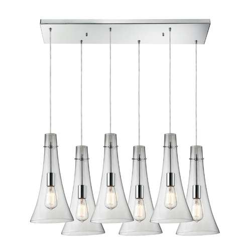 Elk Lighting Multi-Light Pendant Light with Clear Glass and 6-Lights 60055-6RC