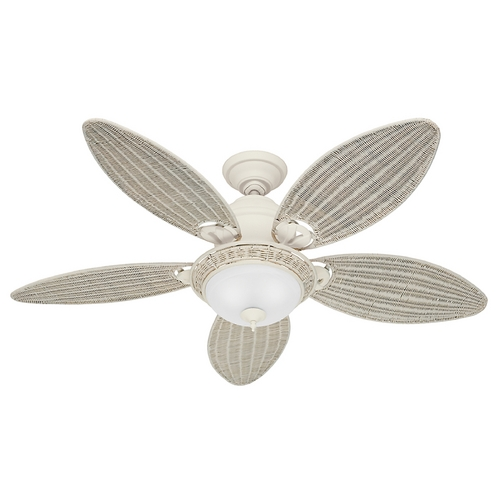 Hunter Fan Company Hunter Fan Company Caribbean Breeze Textured White Ceiling Fan with Light 54094