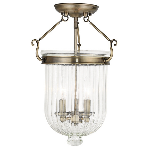 Livex Lighting Livex Lighting Coventry Antique Brass Semi-Flushmount Light 50516-01