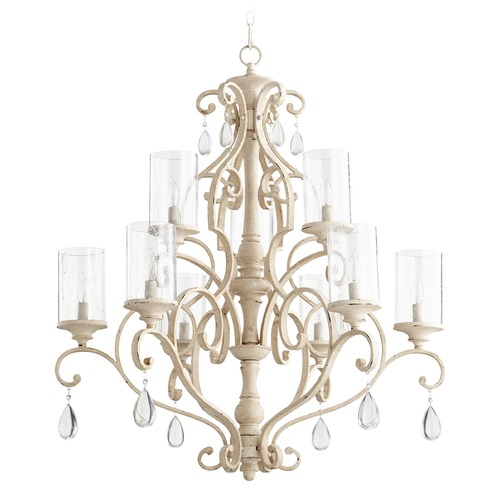 Quorum Lighting Seeded Glass Crystal Chandelier White Quorum Lighting 6073-9-70