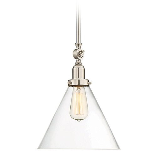 Savoy House Savoy House Lighting Drake Satin Nickel Mini-Pendant Light with Conical Shade 7-9132-1-SN