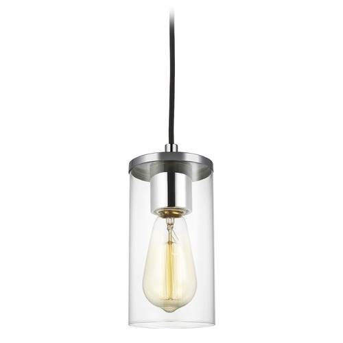 Sea Gull Lighting Sea Gull Lighting Zire Chrome LED Mini-Pendant Light with Cylindrical Shade 6190301EN7-05
