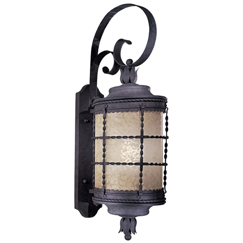 Minka Lavery Outdoor Wall Light with Beige / Cream Glass in Spanish Iron Finish 8882-A39-PL