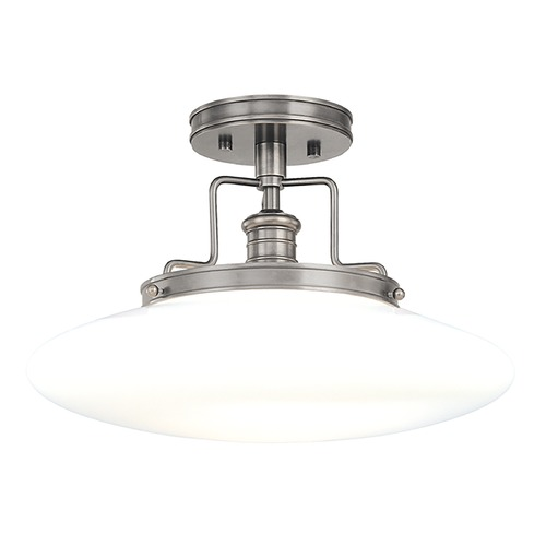 Hudson Valley Lighting Modern Semi-Flushmount Light with White Glass in Satin Nickel Finish 4205-SN