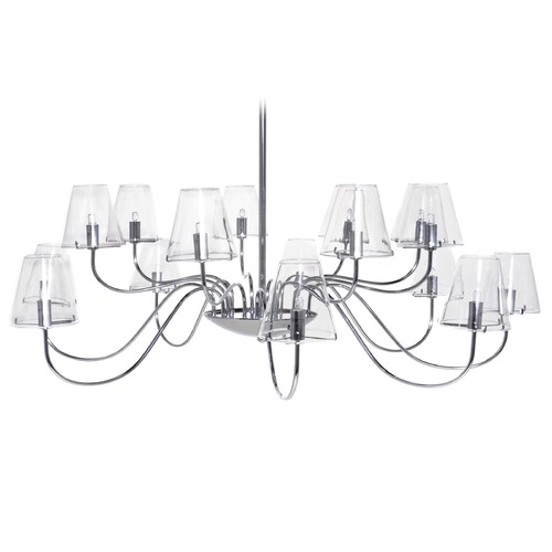 ET2 Lighting Modern Chandelier with Clear Glass in Polished Chrome Finish E20294-10