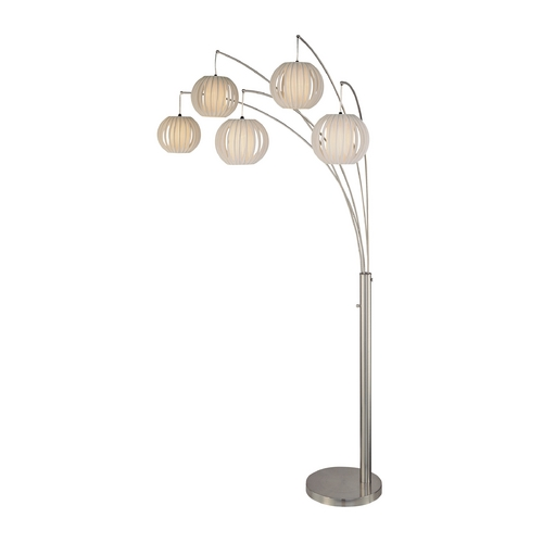 Lite Source Lighting Modern Arc Lamp with White in Polished Steel Finish LS-8872PS/WHT