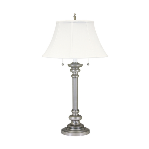 House of Troy Lighting Table Lamp with White Shades in Pewter Finish N651-PTR