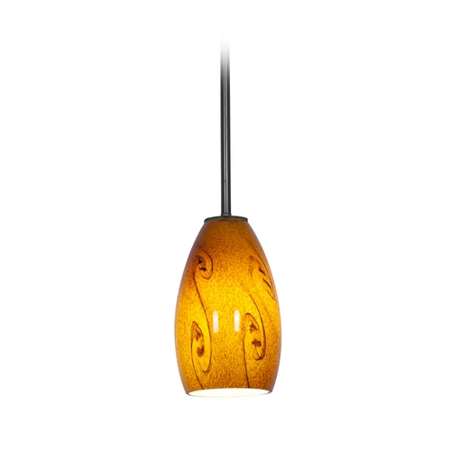 Access Lighting Modern Mini-Pendant Light with Amber Glass 28012-2R-ORB/ASKY