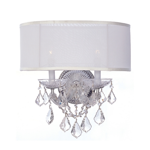 Crystorama Lighting Crystal Sconce Wall Light with White Shades in Polished Chrome Finish 4482-CH-SMW-CL-SAQ