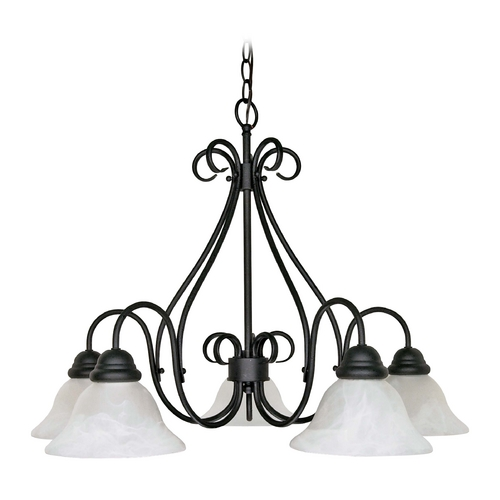 Nuvo Lighting Chandelier with Alabaster Glass in Textured Black Finish 60/381
