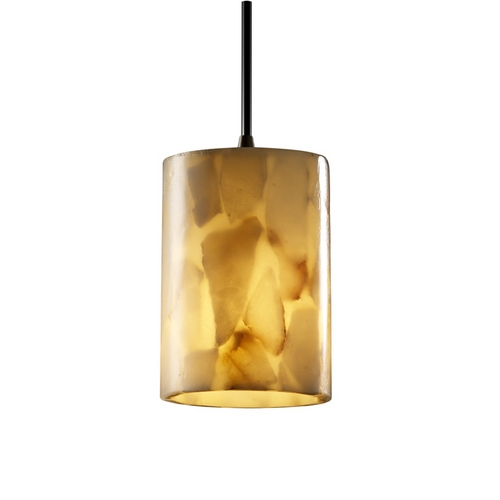 Justice Design Group Modern Mini-Pendant Light with Alabaster Glass Shade ALR-8815-10-DBRZ-BKCD