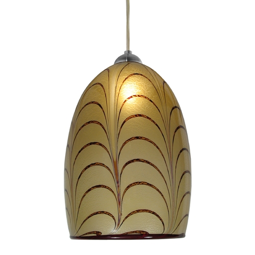 Oggetti Lighting Art Glass Mini-Pendant Light with Amber Shade 69-201EE