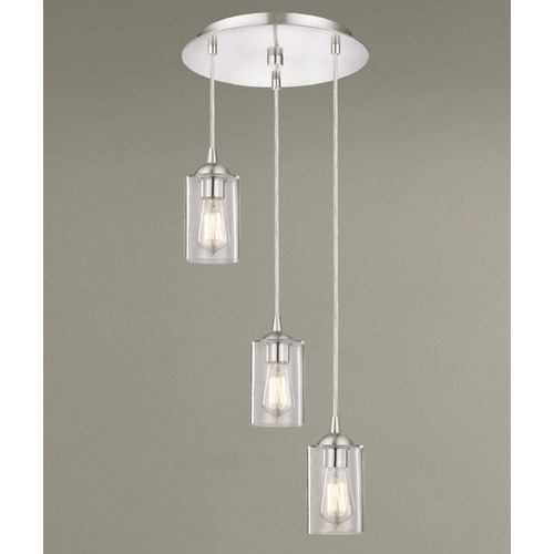 Design Classics Lighting Design Classics Gala Fuse Satin Nickel Multi-Light Pendant with Cylindrical Shade 583-09 GL1041C