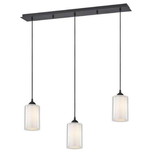 Design Classics Lighting 36-Inch Linear Pendant with 3-Lights in Neuvelle Bronze with Clear Seeded / Frosted White Glass 5833-220 GL1061 GL1041C