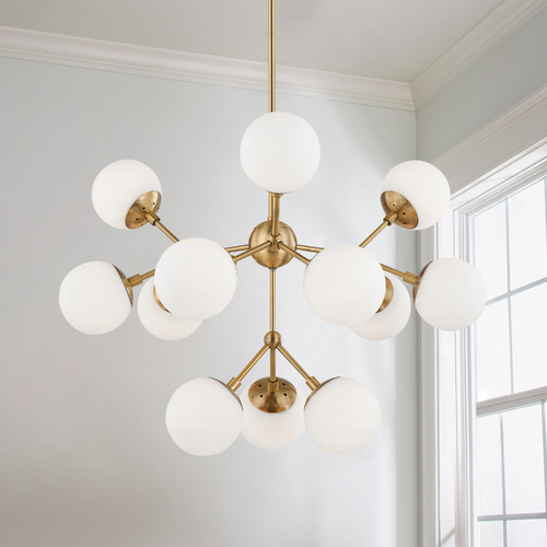 Design Classics Lighting Design Classics Essence Brushed Brass 12-Light Mid-Century Modern Chandelier 1864-BB