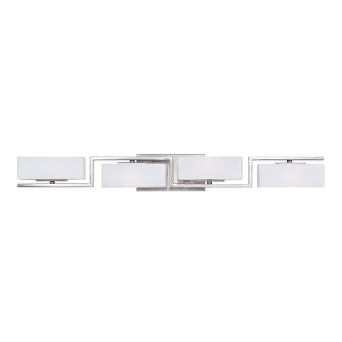 Designers Fountain Lighting Modern Bathroom Light with White Glass in Satin Platinum Finish 6714-SP