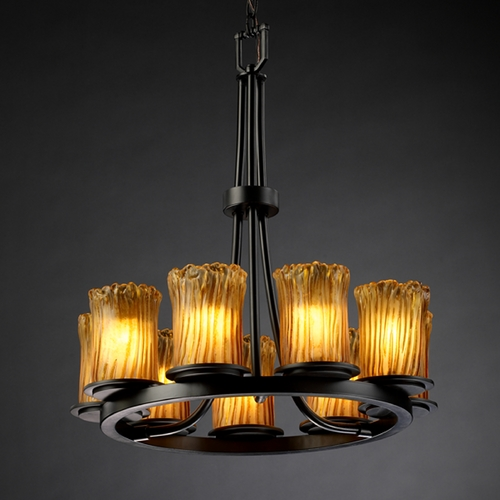 Justice Design Group Justice Design Group Veneto Luce Collection Chandelier GLA-8766-16-AMBR-MBLK