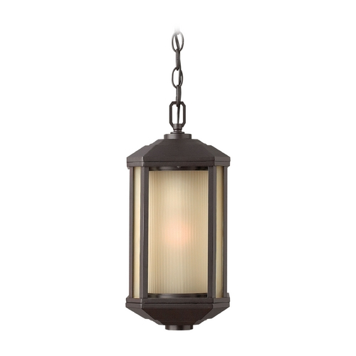 Hinkley Lighting Outdoor Hanging Light with Amber Glass in Bronze Finish 1392BZ-GU24