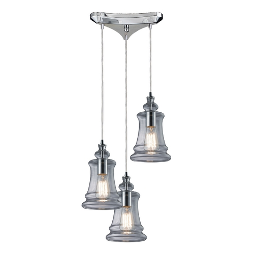 Elk Lighting Multi-Light Pendant Light with Clear Glass and 3-Lights 60052-3