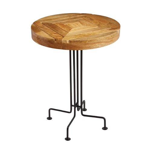 Sterling Lighting Natural Mango Wood Slatted Accent Table 169-012