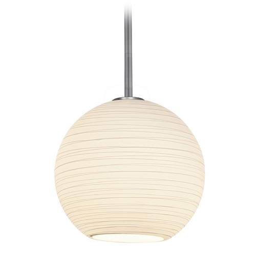 Access Lighting Access Lighting Japanese Lantern Brushed Steel Pendant Light with Bowl / Dome Shade 28088-3R-BS/WHTLN