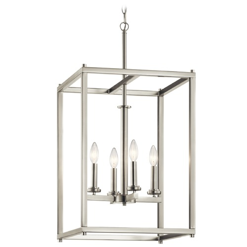 Kichler Lighting Kichler Lighting Crosby Brushed Nickel Pendant Light with Cylindrical Shade 43998NI
