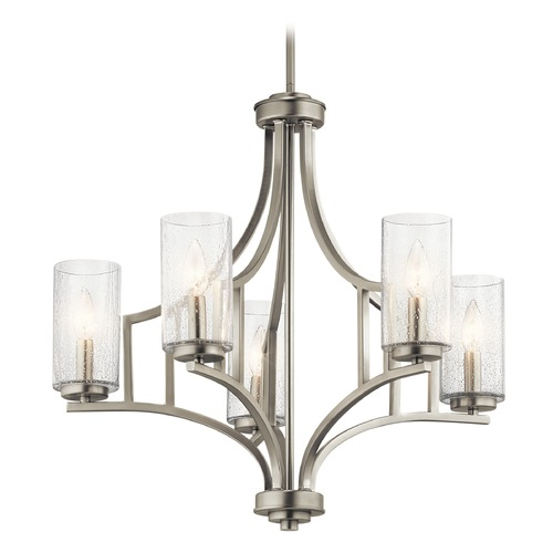 Kichler Lighting Seeded Glass Chandelier Brushed Nickel Vara by Kichler Lighting 44072NI