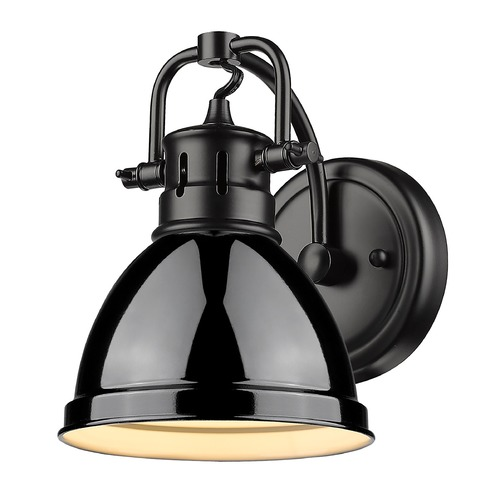 Golden Lighting Golden Lighting Duncan Black Sconce with Gloss Black Shade 3602-BA1BLK-BK