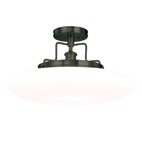 Hudson Valley Lighting Modern Semi-Flushmount Light with White Glass in Old Bronze Finish 4208-OB