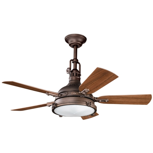 Kichler Ceiling Fan With Light Kit In Weathered Copper
