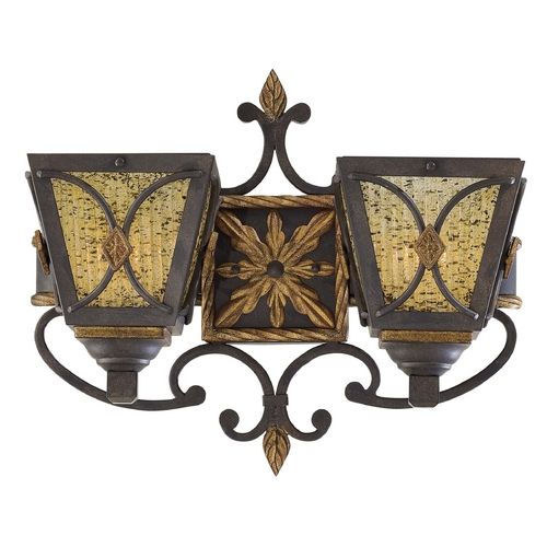 Metropolitan Lighting Sconce Wall Light with Brown Glass in Monte Titano Oro Finish N6042-159