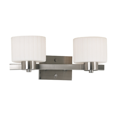 Kenroy Home Lighting Modern Bathroom Light with White Glass in Brushed Steel Finish 80412BS