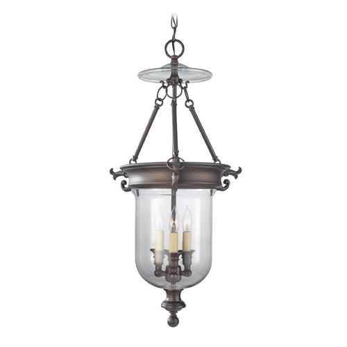 Feiss Lighting Pendant Light with Clear Glass in Oil Rubbed Bronze Finish F2802/3ORB
