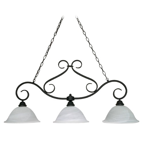 Nuvo Lighting Island Pendant Light with Alabaster Glass in Textured Black Finish 60/382