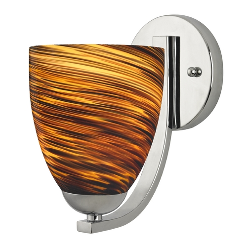 Design Classics Lighting Sconce with Brown Art Glass in Chrome Finish 585-26 GL1023MB