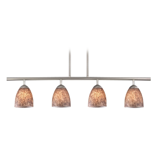 Design Classics Lighting Modern Island Light with Brown Glass in Satin Nickel Finish 718-09 GL1016MB