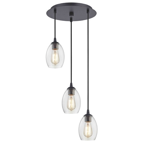 Design Classics Lighting Bronze Multi-Light Pendant with Clear Oblong Glass and 3-Lights 583-220 GL1034-CLR