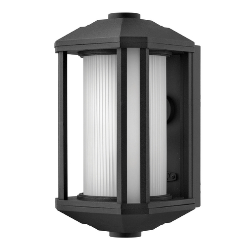 Hinkley Lighting Outdoor Wall Light with White Glass in Black Finish 1394BK-GU24