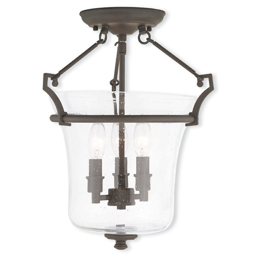 Livex Lighting Seeded Glass Semi-Flushmount Light Bronze Livex Lighting 50403-07
