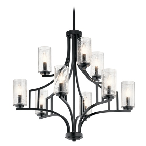 Kichler Lighting Seeded Glass Chandelier Black Vara by Kichler Lighting 44073DBK