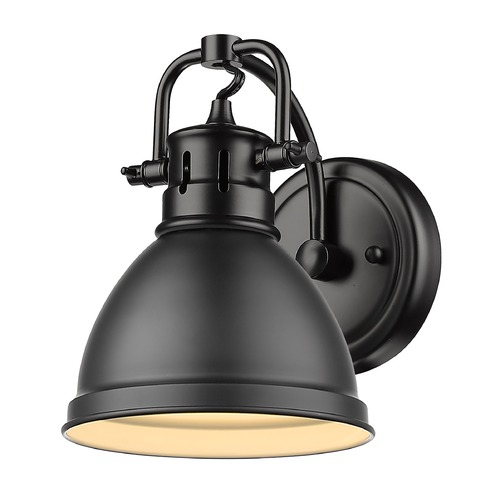 Golden Lighting Golden Lighting Duncan Black Sconce with Matte Black Shade 3602-BA1BLK-BLK